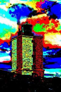 Valokuva Utön majakasta, jossa värejä on rikottu ja tuloksena on lähes impressionistinen valokuva