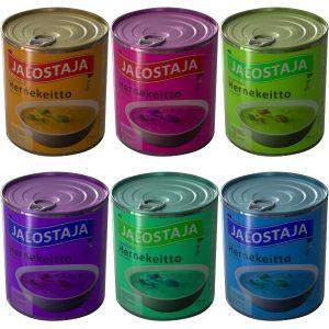 Kuusi vaihtelevan väristä valokuvaa hernekeittopurkista